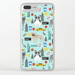 French Bulldog new york city tourist big apple dog breed pet friendly designs Clear iPhone Case