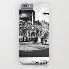 retro monochrome Liege iPhone Case