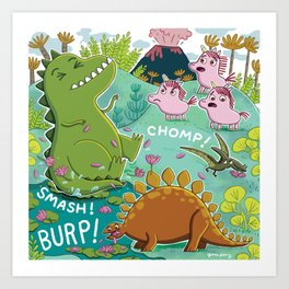 Unicorns & Dinosaurs Art Print
