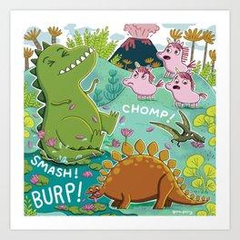 Unicorns & Dinosaurs Art Print