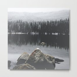 Rocks in the Winter Water Metal Print