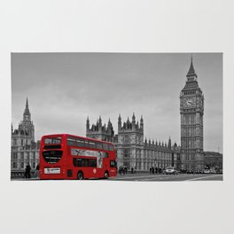 Black and White London with Red Bus Rug