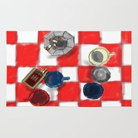 cigarettes Area & Throw Rugs featuring Coffee and Cigarettes by The Strawbridge Collective