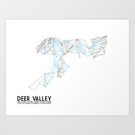 Deer Valley, UT - Minimalist Trail Art Art Print