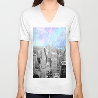 new york city V-neck T-shirts featuring New York City. by 2sweet4words Designs