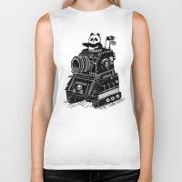 panda Biker Tanks featuring Panda by Ronan Lynam