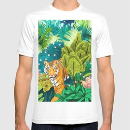 Jungle Tiger Painting, Tropical Nature Palms Wildlife Animals Cats Illustration T-shirt