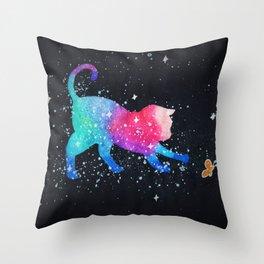 Galaxy Cat Butterfly Throw Pillow