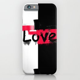 Black and red white pattern Love . iPhone Case