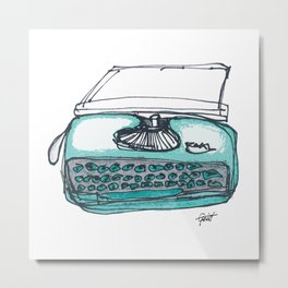 """Type"" Hand Drawn Typewriter Teal Metal Print"