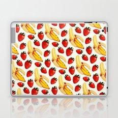 Strawberry Banana Pattern - White Laptop & iPad Skin