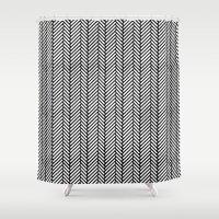herringbone Shower Curtains featuring Herringbone Black by Project M