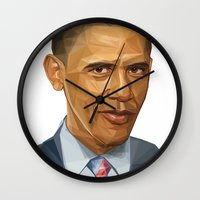 obama Wall Clocks featuring Obama 2012 by HOPE 4 MORE