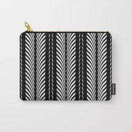 Geometric Black and White Herringbone Tribal Pattern Carry-All Pouch