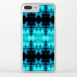 Turquoise Blue Black Diamond Gothic Pattern Clear iPhone Case