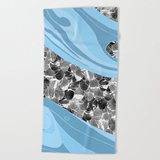Blue Waves Abstract Mermaid Scales Pattern Beach Towel