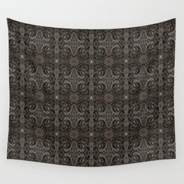 Curves & lotuses, abstract floral pattern, charcoal black, dark brown and taupe Wall Tapestry