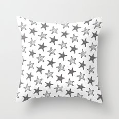Starfish Black on White Throw Pillow