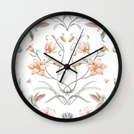 Painted Botanical Garden Wall Clock