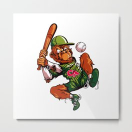 Baseball Monkey - Limerick Metal Print
