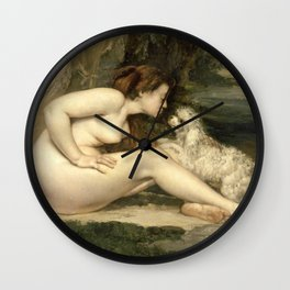 Puppy Love : Nude Woman with A Dog Wall Clock