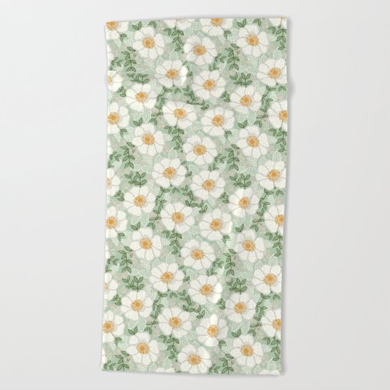 Sage pastel white green flowers blossom garden summer spring nature pattern painting florals Beach Towel