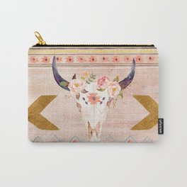 Bull Head Skull Boho Flowers Carry-All Pouch