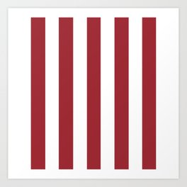 Japanese carmine purple - solid color - white vertical lines pattern Art Print