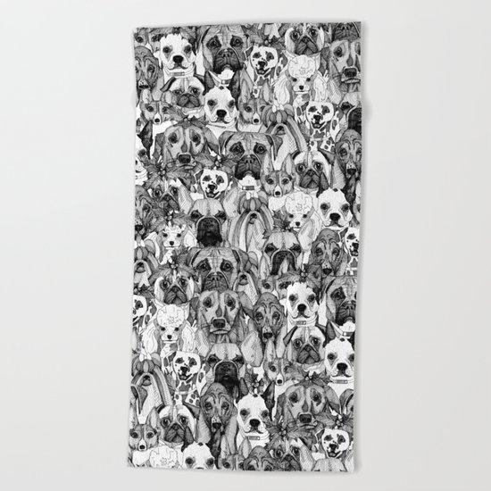 christmas dogs Beach Towel