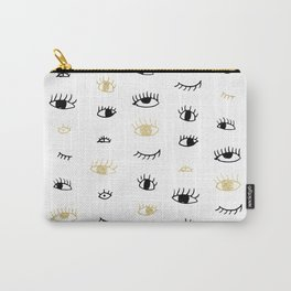 Funny fashion gold and black cute eyes pattern Carry-All Pouch