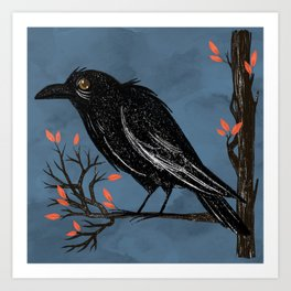 Raven On A Cold And Rainy Day Art Print