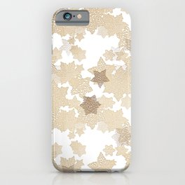 Golden tones on crochet stars iPhone Case