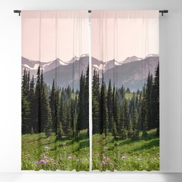 Mount Rainier Summer Adventure X - Pacific Northwest Mountain Landscape Blackout Curtain
