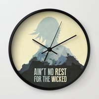 borderlands Wall Clocks featuring Borderlands 2 - Ain't No Rest for the Wicked by Art of Peach