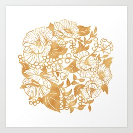 Gold Floral Poppy Circle Art Print