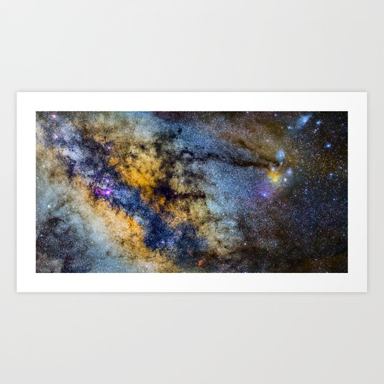 The Milky Way and constellations Scorpius, Sagittarius and the super big red star Antares. Art Print