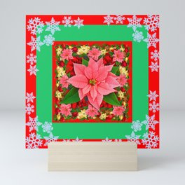 DECORATIVE SNOWFLAKES RED & PINK POINSETTIAS CHRISTMAS ART Mini Art Print