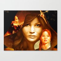 mockingjay Canvas Prints featuring Mockingjay by drawingsbyignacio
