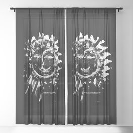 Sun and moon black ad white drawing Sheer Curtain