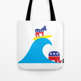 Democratic Donkey Riding Midterm Eection Blue Wave Tote Bag