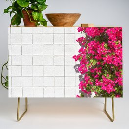 Bougainvilleas and White Brick Wall in Palm Springs, California Credenza