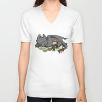 hiccup V-neck T-shirts featuring Sleepy Buddies by comickergirl