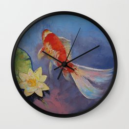 Koi on Blue and Mauve Wall Clock