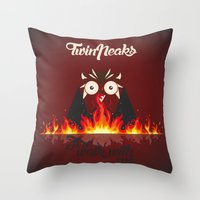 twin peaks Throw Pillows featuring Twin peaks by sgrunfo