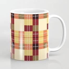 Plaid White Stitch Yellow And Brown Lumberjack Flannel Coffee Mug