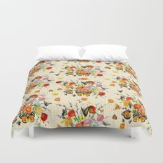 Butterfly Bouquet on Raw Silk Duvet Cover