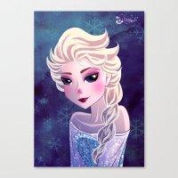 frozen elsa Canvas Prints featuring Elsa Frozen by Kaori