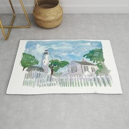 Key West Florida Lighthouse with White Fence Rug