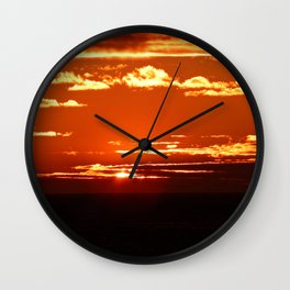 Red Gold Sunset in the Clouds Wall Clock