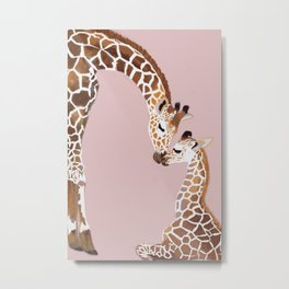 Giraffe mother and baby Metal Print
